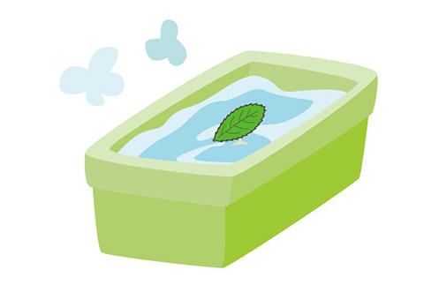 びわの葉をお風呂に入れる