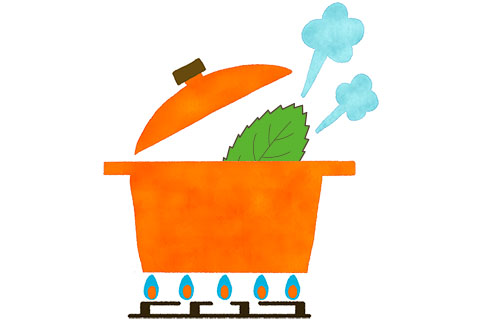びわの葉の煮汁で薬草湯を作る