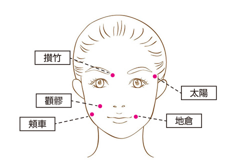 円皮鍼の使い方2~6. 顔のツボ