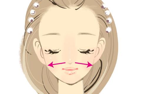顔の筋肉をほぐす小顔マッサージ4.